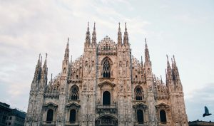 The front facade of the Milan Cathedral.
